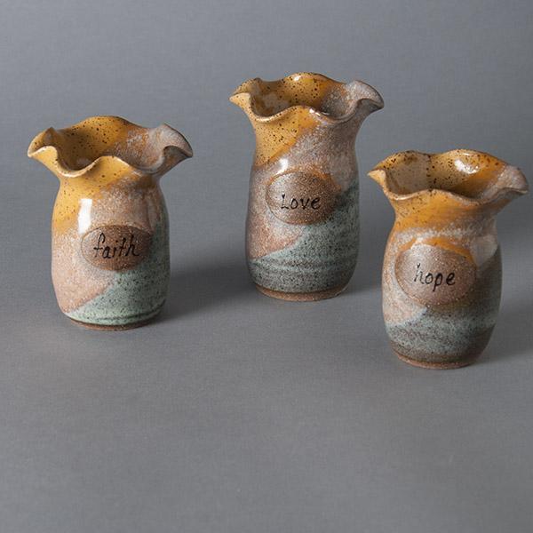 Faith, Hope & Love vases by Carmen's Pottery