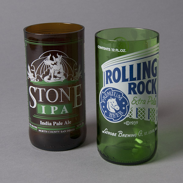 Rolling Rock Beer Glass by Blue Moon Bottles (right)