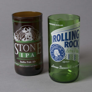 Stone IPA Beer Glass by Blue Moon Bottles (left)